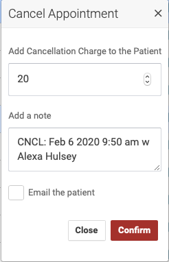Cancel appointment popup